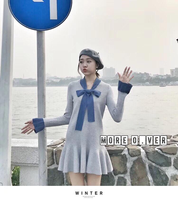 เดรสเกาหลี ไหมพรมแขนยาว พร้อมส่ง