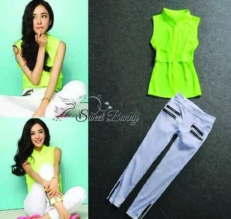 พร้อมส่ง เซ็ทเสื้อ+กางเกง เสื้อเป็นผ้าชีฟองเนื้อดีหนาสีเขียวมะนาว