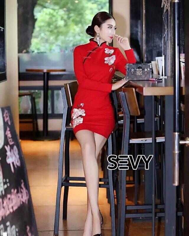 ชุดเดรสเกาหลี พร้อมส่ง เดรสคอจีน ต้อนรับเทศกาลตรุษจีน