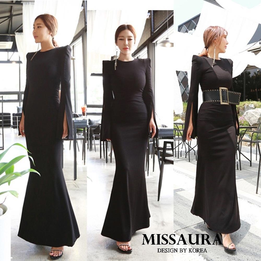 ชุดเดรสเกาหลี พร้อมส่ง maxi dress ยาวสีดำ