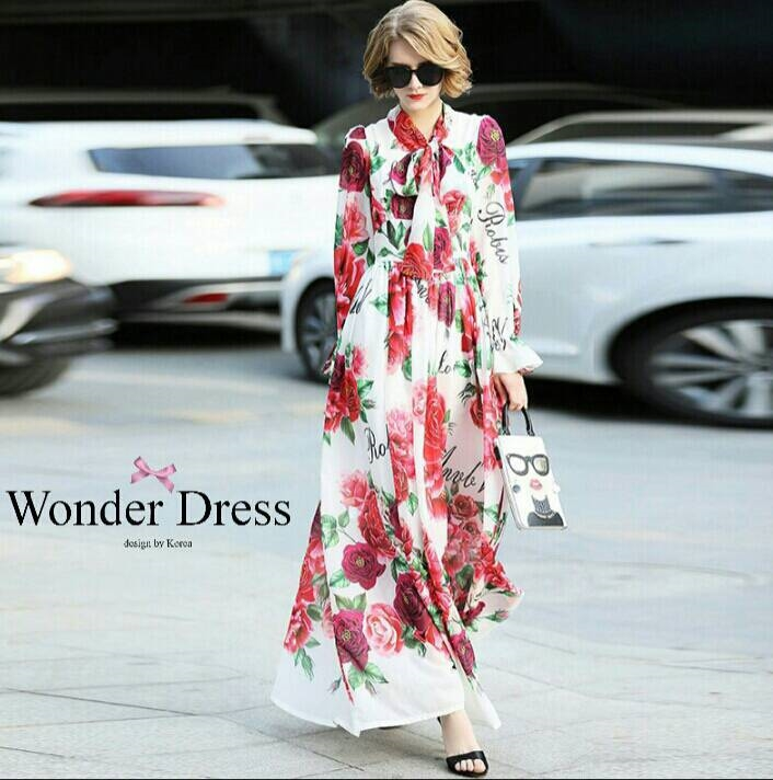 เดรสเกาหลี พร้อมส่ง ชุดเดรส เนื้อผ้าPolyesterผ้าสวยมาก