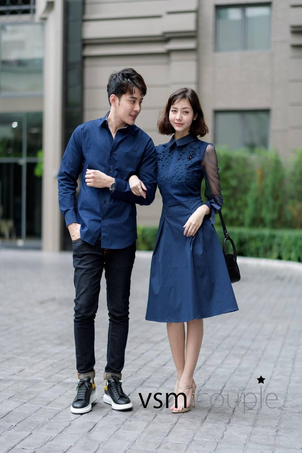 ชุดเดรสเกาหลี พร้อมส่ง เดรสผ้า cotton กับ เสื้อเชิ้ต ชาย