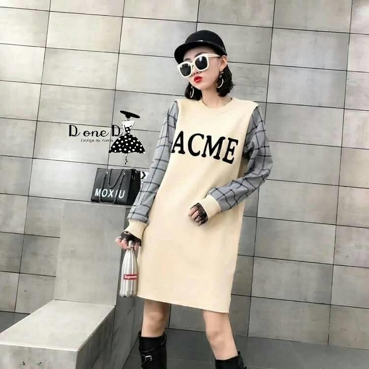 เดรสเกาหลี พร้อมส่ง เดรสไหมพรม กำมะหยี่ลาย ACME
