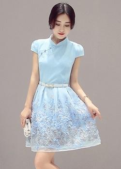 พร้อมส่ง ชุดเดรสผ้าชีฟองคอจีน สีฟ้า