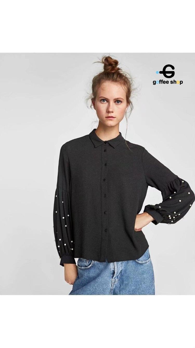 เสื้อผ้าเกาหลี พร้อมส่ง Shirt แขนบอลลูนปักมุก