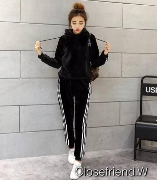 เสื้อผ้าเกาหลี พร้อมส่ง เสื้อแขนยาว+กางเกงขายาว