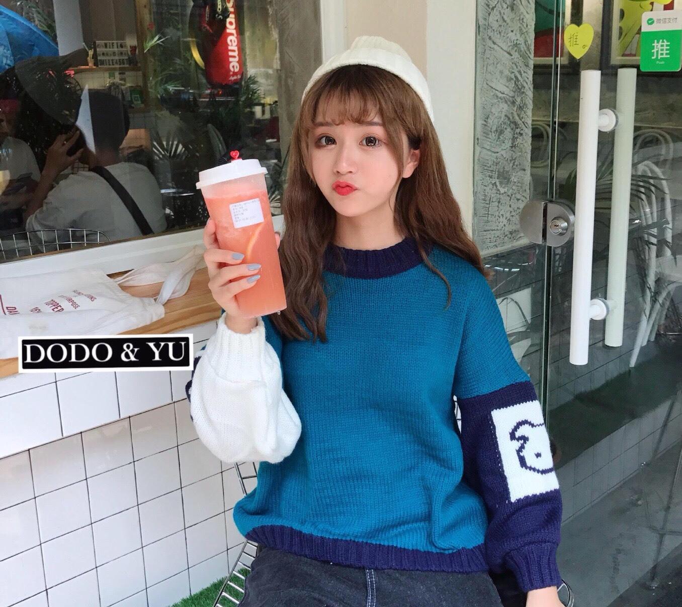เสื้อเกาหลี พร้อมส่ง แขนทอลายการ์ตูน