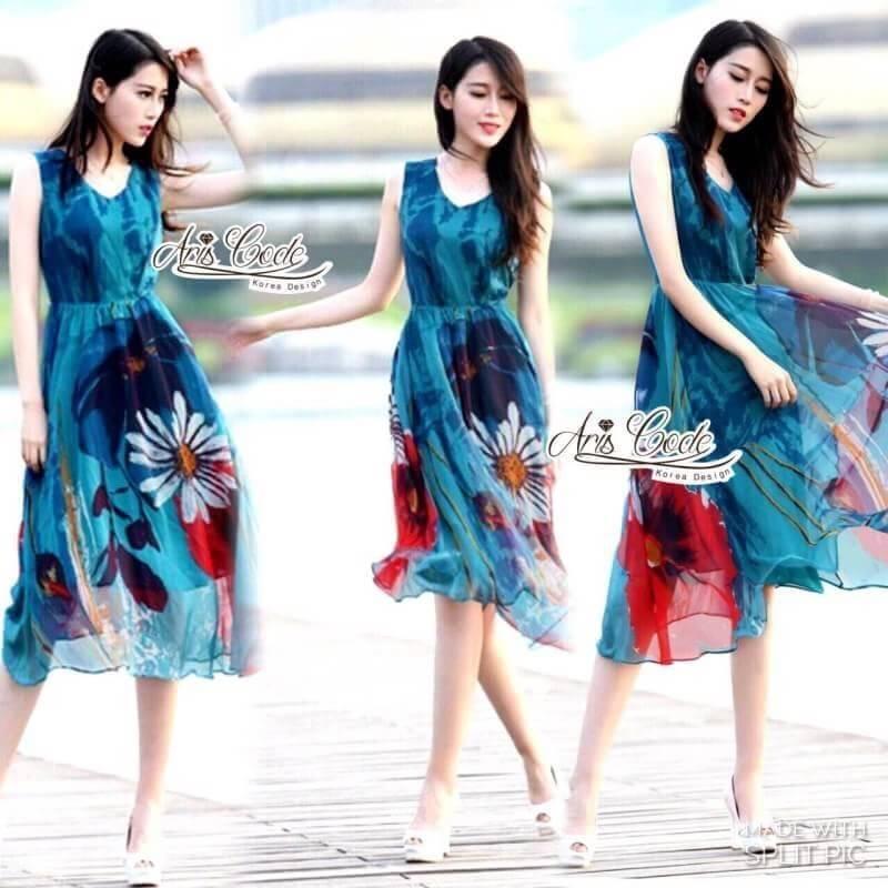 เดรสเกาหลี พร้อมส่ง ชุดเดรส ดอกไม้โทนสีฟ้าน้ำทะเล