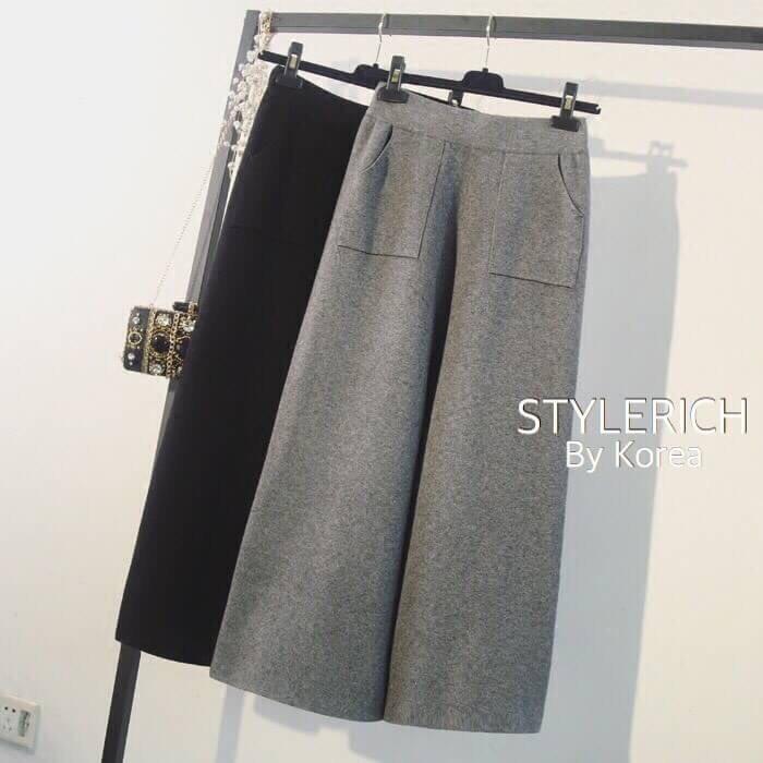 พร้อมส่ง กางเกงผ้า knit สไตล์เกาหลี