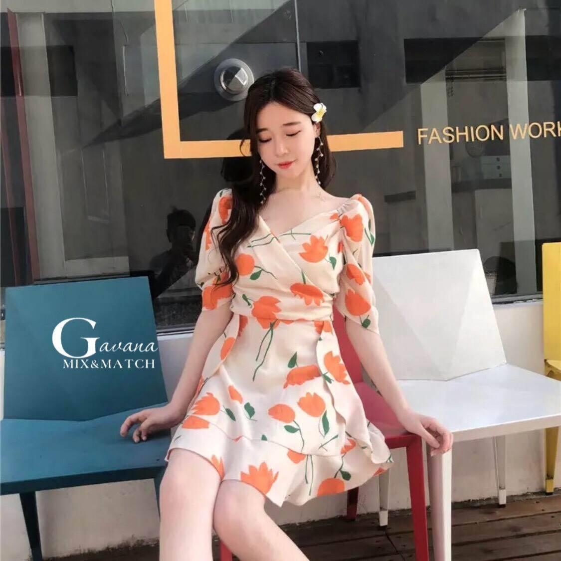 เดรสเกาหลี พร้อมส่ง มินิเดรส ลายดอกทิวลิปส้มๆ