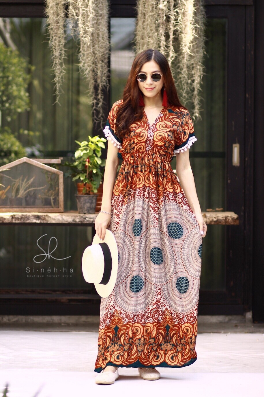 ชุดเดรสเกาหลี พร้อมส่ง Maxi dress ผ้าสปันเนื้อดีปริ้นลายสวย