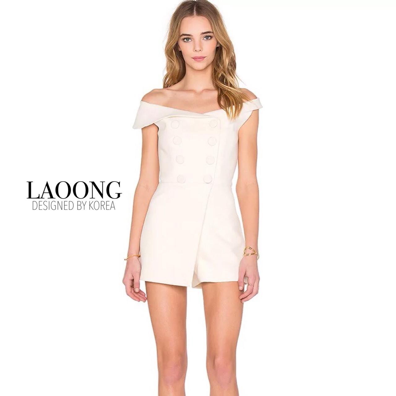 เสื้อผ้าเกาหลี jumpsuit สีขาว พร้อมส่ง