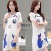 เดรสเกาหลี พร้อมส่ง Dress Cat เดรสเกาหลี ปักลายแมว