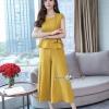 เสื้อผ้าเกาหลี พร้อมส่ง ชุดเซ็ท ผ้าพื้นสีเหลืองทอง