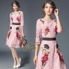 ชุดเดรสเกาหลี Dress ทรงบาน ผ้าลูกไม้ฝรั่งเศส แขน 3 ส่วน
