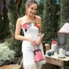 ชุดเดรสเกาหลี พร้อมส่ง Maxi Dress สายเดี่ยว แต่งดอกไม้