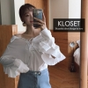 เสื้อเกาหลี พร้อมส่ง เสื้อเซิ๊ตคอปก แขนยาว