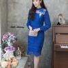 ชุดเดรสเกาหลี พร้อมส่ง Dress ลูกไม้แขนชีฟอง