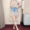 เสื้อผ้าแฟชั่นเกาหลี พร้อมส่ง เสื้อ กับ กระโปรง ผ้าชีฟองลายดอก