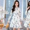 เดรสเกาหลี พร้อมส่ง เดรสเชิ๊ต แขนยาว พิมลายผีเสื้อ