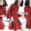 เดรสเกาหลี พร้อมส่ง ชุดเดรส ผ้าเครปสีแดงพิมพ์ลายดอกไม้