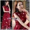 เดรสเกาหลี พร้อมส่ง เดรสยาว ผ้าชีฟองสีแดงพิมพ์ลาย