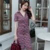เดรสเกาหลี พร้อมส่ง Maxi Polo Dress ผ้ายืดลายริ้ว