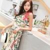 ชุดเดรสเกาหลี พร้อมส่ง เดรสยาว พิมพ์ลายดอกเนื้อดีนุ่ม