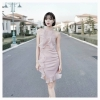 เดรสเกาหลี พร้อมส่ง Dress คล้องคอสีชมพู