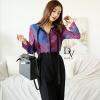 เสื้อผ้าเกาหลี พร้อมส่ง เสื้อเชิ้ต ผ้าแพรสีน้ำเงินแดง+กางเกง
