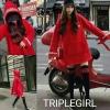 เสื้อเกาหลี พร้อมส่ง เสื้อมีฮูดสีแดง กับ ถุงเท้า