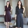 เดรสเกาหลี พร้อมส่ง Dress คอวี แขน 5ส่วน
