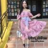 เดรสเกาหลี พร้อมส่ง Maxi Dress เปิดไหล่ แขนตุ๊กตา
