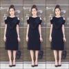 เดรสเกาหลี พร้อมส่ง Sleeveless V Dress เว้าไหล่