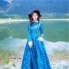 ชุดเดรสเกาหลี พร้อมส่ง เดรสยาว สีน้ำเงินเข้ม สีสวย คอปก
