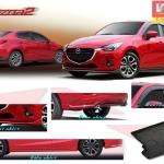Mazda2 Skyactive 4ประตู V1 5ชิ้น (รวมสปอยเลอร์ท้าย)