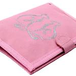 กระเป๋าสตางค์ผู้หญิง กระเป๋าผ้า ลายแมวคู่พื้นสีชมพู
