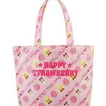 กระเป๋าสะพายข้าง Happy Strawberryติดซิปมิดชิด พร้อมพวงกุญแจคุกกี้ช็อกโกแลต ^^