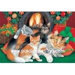 กระดาษสาพิมพ์ลาย สำหรับทำงาน เดคูพาจ Decoupage แนวภาพ แม่แมว 1 กับลูกแมว 4 นอนกอดกันเพื่อไออุ่นใกล้เตาผิง A5