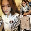 (สินค้าพร้อมส่งค่ะ) เสื้อแฟชั่น jacket เกาหลี คอปก แขนยาว ผ้าฝ้าย+ผ้ายีนส์เนื้อดี แต่งปัก Rockey 52 เก๋ด้วยแขนลายริ้ว สไตล์ harajuku – สีขาว