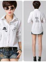เสื้อเชิ้ตสไตล์เกาหลี สกรีนลายเก๋ๆ
