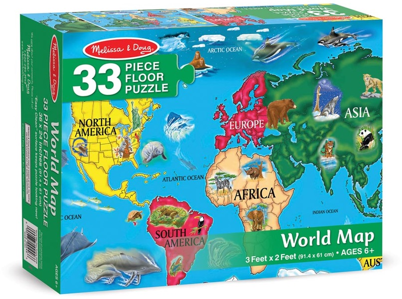 NEW 2 EARLY LEARNING GEOGRAPHY 48 PIECE JIGSAW PUZZLES EUROPE AND WORLD MAP SET